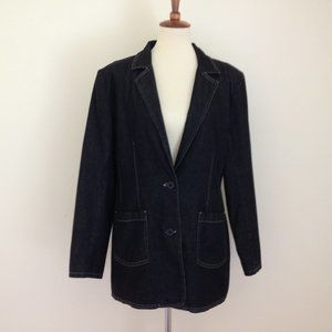 Denim & Co. Black Denim Boyfriend Blazer Jacket L